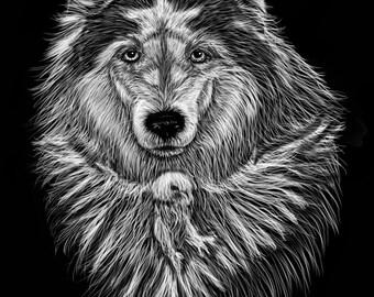 Peace Wolf  Pen & Ink