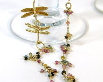 Gold Dragonfly and Multicolored Tourmaline Extra Fancy Wire Wrapped Adjustable Necklace