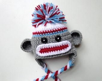 Ready to Ship Newborn Crochet Sock Monkey Hat Baby Hat, Baby girl hat, Monkey hat, baby boy hat, Photo Prop- Aqua and Red