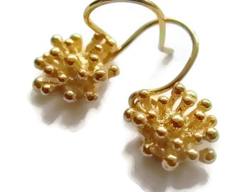 Starburst Earrings, Gold Flower Earrings Small Gold  Earrings, 18K Vermeil Drop Earrings, Artisan Handmade  by Sheri Beryl