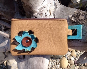 "Carmel Leather ""Finglet"" Purse & Turquoise/Brown Flower- Soft Leather Purse - One Of A Kind - Handmade - Gifts for Her"