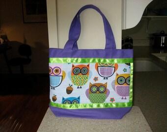 Girl's Purple & Lime Green Owl Tote Bag.  Lunch Bag, Cute Ohio Tote