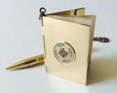 Antique Gold Mini Notebook Locket, Guilloche Enamel Locket Pendant, gold pencil Chatelaine, Notebook Pendant