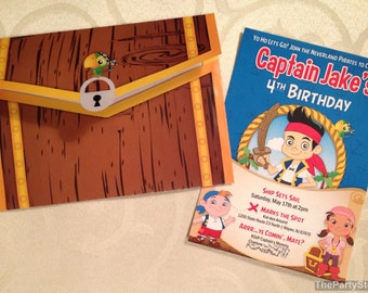 Jake and the Neverland Pirate Invitations, Jake and the Neverland Pirates Birthday Party Invites, Printable Treasure Chest Envelope, DIY