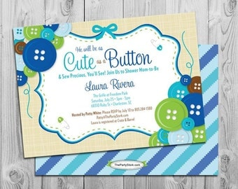 Cute As A Button Baby Shower Invitation, Boy Baby Shower Printable Invite,  Cute As