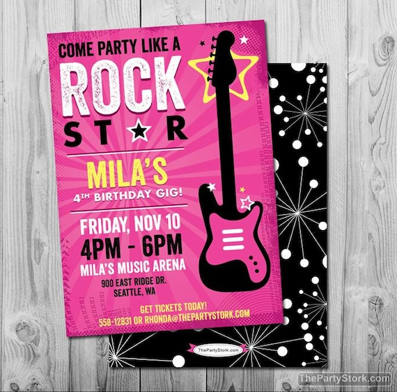 Rock Star Birthday Party Invitation Printable Girls Party Invite