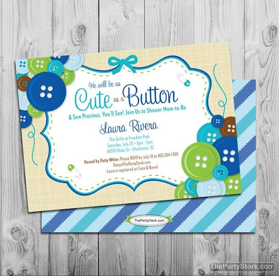 cute as a button baby shower invitation boy baby shower printable