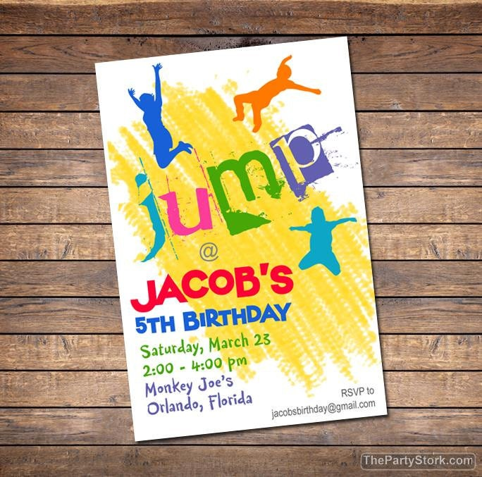 Trampoline Party Invitations: Trampoline Invitation Printable Boy Or Girl Birthday Party