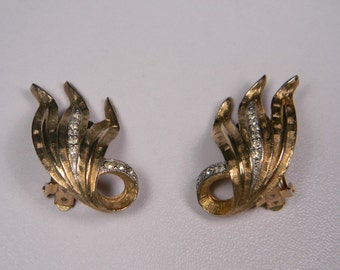 Judy Lee Clip On Earrings, Gold Tone Leaves, Clear Rhinestones, Just Reduced