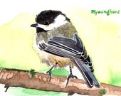 ACEO Limited Edition 5/25 - A Soft feather, Art print of an ACEO original watercolor by Anna Lee, Chickadee, Winter bird, Home deco idea