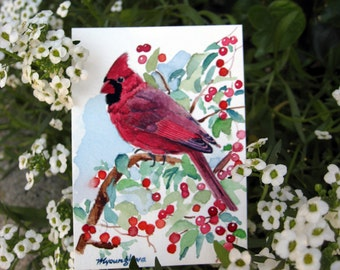 ACEO Limited Edition (4/25) of an ACEO original watercolor painting - Spark of Ruby - Bird miniature art by Annal Lee