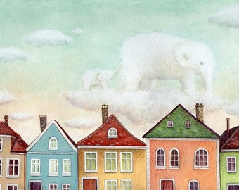 Nursery Art, Elephant Clouds Art Print from an original painting
