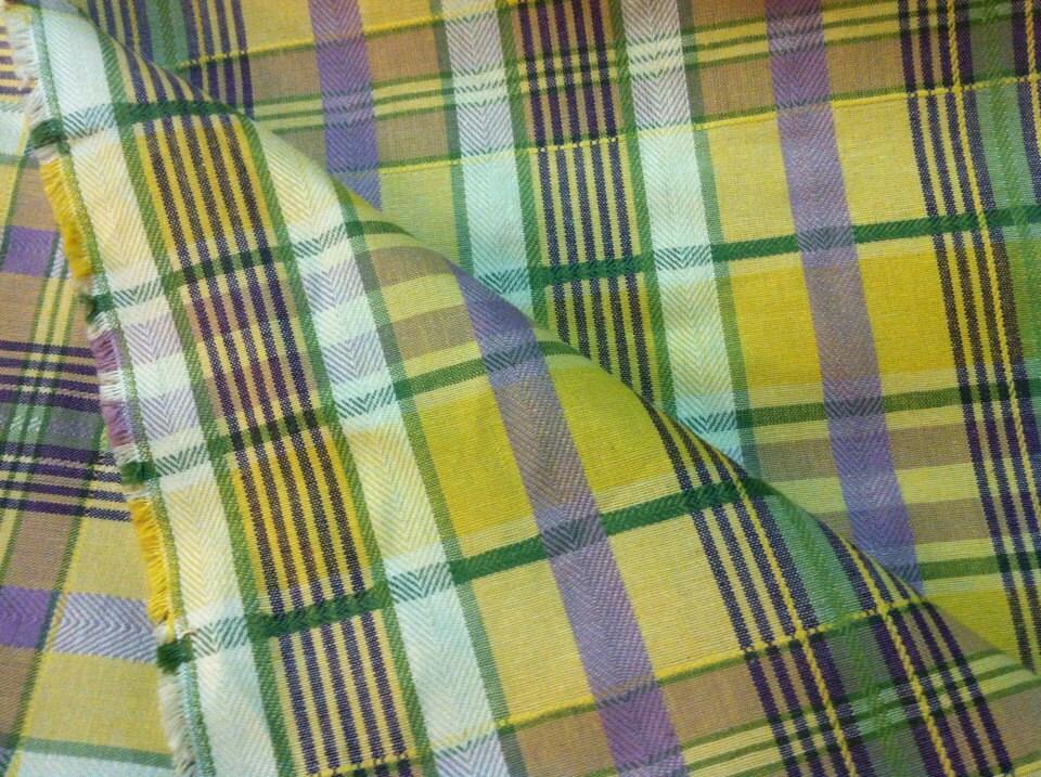 Plaid Home Decor Fabric 1 and 34 yard Yellow and Purple