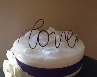 Custom Cake Topper - Love, Wedding Cake Topper, Mr & Mrs,Wire Cake Topper, Personalized Cake Topper, Love