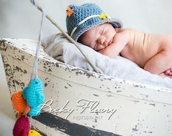 Fishing Hat  AND 4 Fish - Photography Prop Newborn - Child