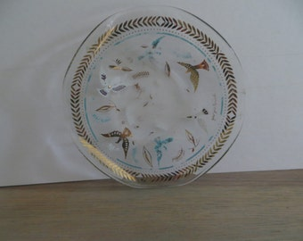 Vintage Georges Briard 60s curved glass dish plate gold turquoise art deco modern art mid century collectible doves leaves design 22K gold