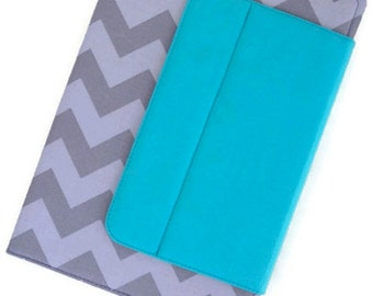 Stand-Up Case in a Tone on Tone Gray Chevron Fabric~Kindle Fire HD 8.9 Nook HD+9 Samsung Galaxy Tab A iPad Kindle Fire Kobo Dell Venue Nexus