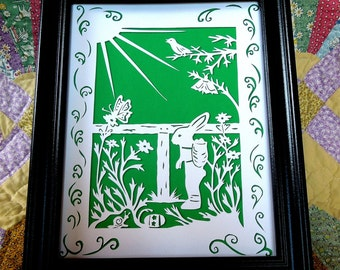 Easter Rabbit  Papercutting with Snail Daisies Butterflies Songbird in green and white