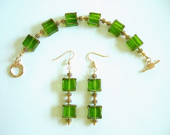Art Deco Style Bracelet & Dangle Earrings Elegant Translucent Vibrant Green Glass Jewelry Arm Candy Ornate Fashion Jewelry Gifts for Her