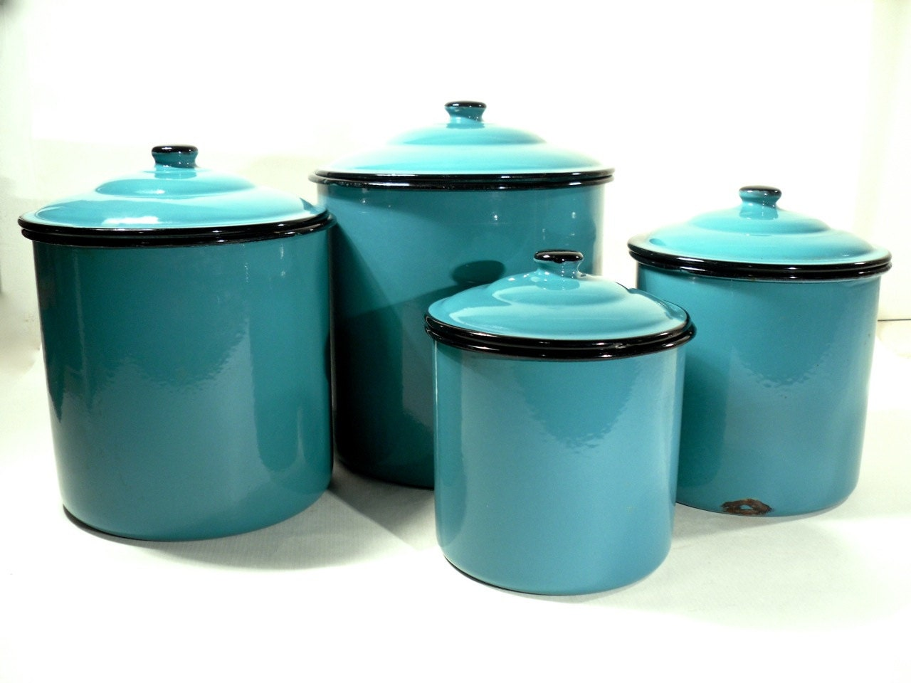 enamel kitchen canisters enamel storage canister set retro kitchen turquoise blue 2773