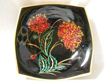 Tess Vallauris Black Hand Painted Floral Faience French Vintage Bowl (A876)