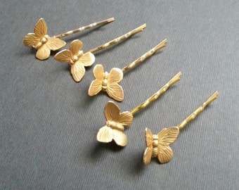 Five Gold Toned Bobby Pin Set Butterfly Hair Pin Set of 5 Gold Toned Bobby Pins Simple Natural Vintage Style Woodland