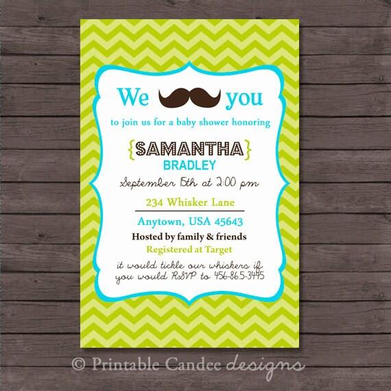 Mustache Little Mister Baby Shower nvitation - DIY Custom Printable