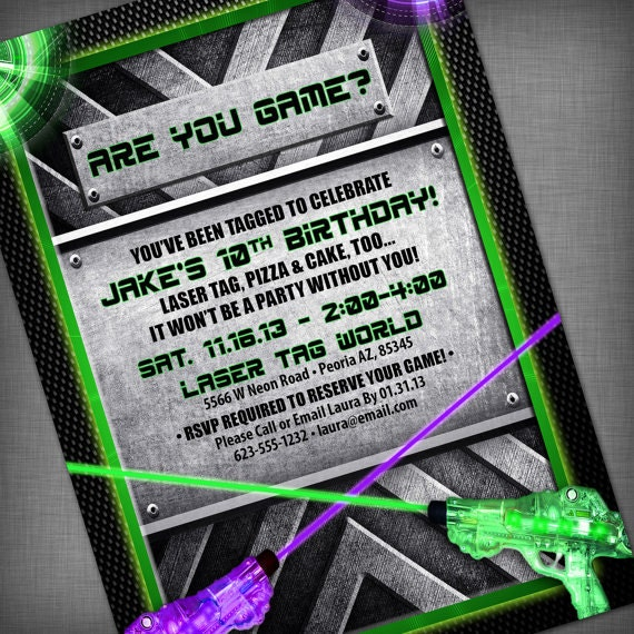 Laser Tag Party Customized Printable Invitation – Laser Tag Party Invitations