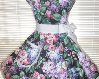 Retro Apron Hydrangeas and Roses with Circular Flirty Skirt