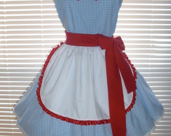 Retro Inspired Costume French Maid Apron Blue and White Gingham with Red Accents
