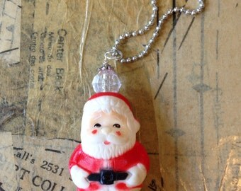 """Upcycled Vintage Santa Necklace With 24"""" Ball Chain"""