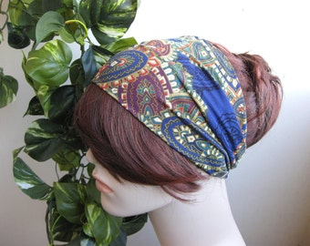 Blue Paisley Turban Head Wrap, Wide Hair Band, Women's Yoga Wrap, Turband, Stretch Fabric, Hair Accessories, Gifts for Her