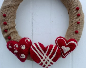 Large Burlap And Wool Needle Felted Valentines Wreath