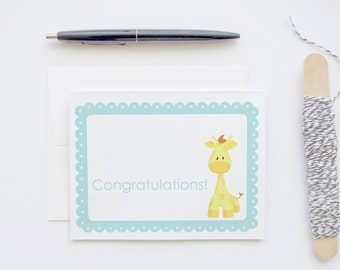 New Pregnancy Congratulations - Baby Giraffe - Turquoise Scallop Border Blank Greeting Card