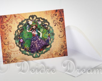 Hippie Girl Card, Greeting Card, Blank Note Card, Greetings Card, Belly Dancer Card, Hippie Card, Boho Card, Birthday Card, Valentine Card