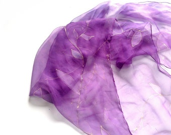 Purple silk scarf with golden leaves Thin painted silk scarf