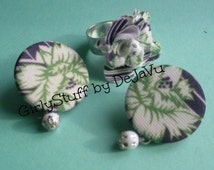 50s recycled fabric earrings and ring, silver plated ring base, white, green, purple, floral fabric, handmade, one of a kind, made in Greece