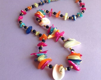 80s Multi Colored Shell Necklace, neon colors, spring / summer / beach, made in Greece / Mykonos