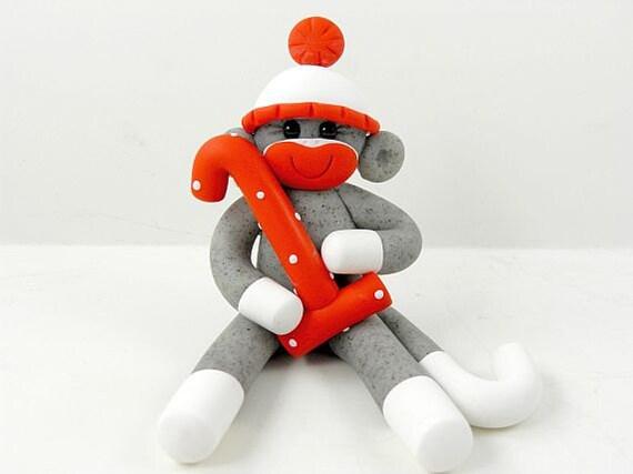 2 Inch Sock Monkey Birthday Baby Cake Topper Polymer Clay