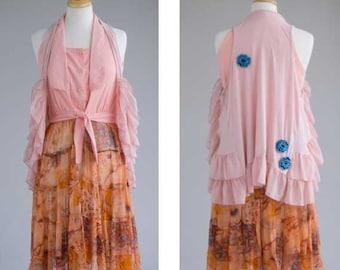Womens clothing upcycled boho peach vest dress pink shrug combo vintage S/M