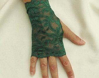 Green Lace Gloves  - Forest Green Fingerless Gloves - Green Gloves .