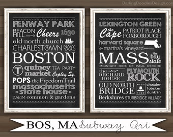 Boston MA Subway Art - Boston Print - Massachusetts Print - Boston Subway Art - Boston Art - Massachusetts Art - Printable Artwork