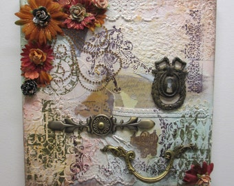 Mixed Media 12x12 Canvas Art Vintage Look Antique Hardware Lace TEXTURES Bling OOAK