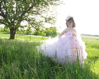 Pink flower girl dress, Detachable train, Flower girl dress with train, pagent dress, girls dress, tulle dress, Costume, princess dress