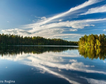 Photo print of a lake in Finland, forest reflection in water, print to frame for your wall, bright sunset light in Nordic national park