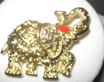 Vintage Jewelry Brooch Pin Elephant  Gold Ornate