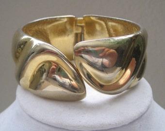 Vintage Jewelry Bracelet Cuff Bracelet Clamper Bracelet Gold Modernist Style 1950's Mid Century
