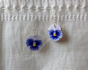 Blue Pansies earrings