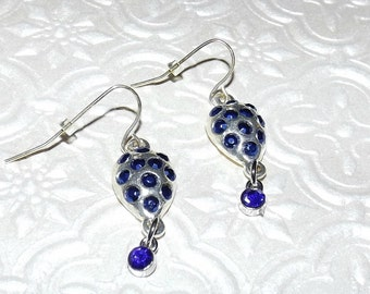 Metallic Sapphire Crystals Mosaic Earrings