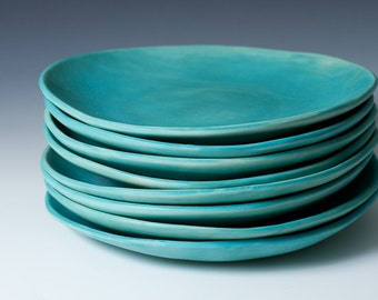 "9"" Matte Turquoise Stoneware Plates, Ceramic, Pottery Handmade Stoneware - Sold Individually - stone ware blue handmade plates ready to ship"